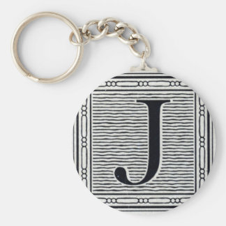 "Block Letter ""J"" Woodcut Woodblock Inital Basic Round Button Keychain"