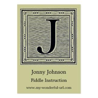 "Block Letter ""J"" Woodcut Woodblock Inital Business Cards"