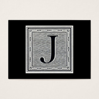 "Block Letter ""J"" Woodcut Woodblock Inital Business Card"