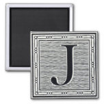 "Block Letter ""J"" Woodcut Woodblock Inital Magnet"