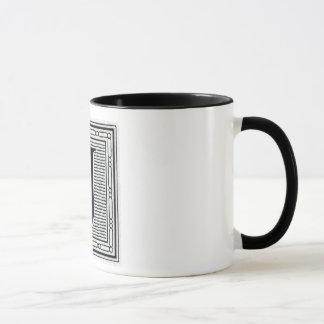 """Block Letter """"J"""" Woodcut Woodblock Inital Mug"""
