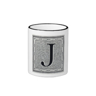 "Block Letter ""J"" Woodcut Woodblock Inital Ringer Coffee Mug"
