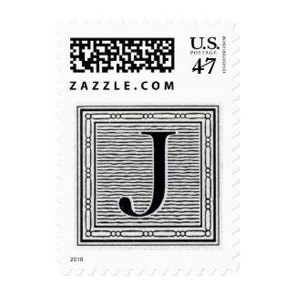 "Block Letter ""J"" Woodcut Woodblock Inital Postage"