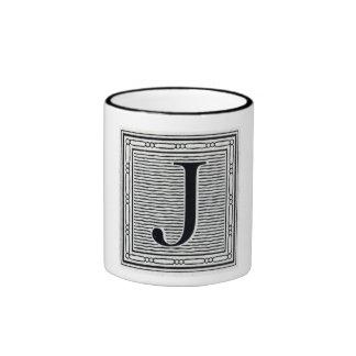 """Block Letter """"J"""" Woodcut Woodblock Inital Ringer Mug"""