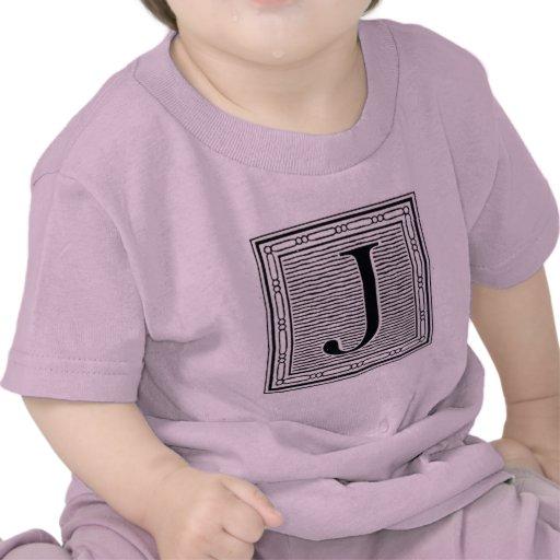 """Block Letter """"J"""" Woodcut Woodblock Inital Tshirt"""