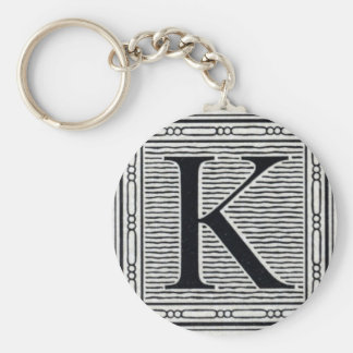 "Block Letter ""K"" Woodcut Woodblock Inital Basic Round Button Keychain"