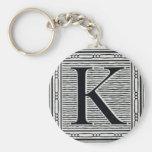 "Block Letter ""K"" Woodcut Woodblock Inital Key Chains"