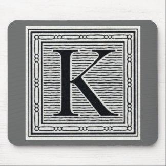 """Block Letter """"K"""" Woodcut Woodblock Inital Mouse Pad"""