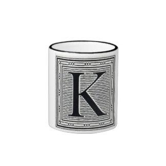 """Block Letter """"K"""" Woodcut Woodblock Inital Ringer Mug"""
