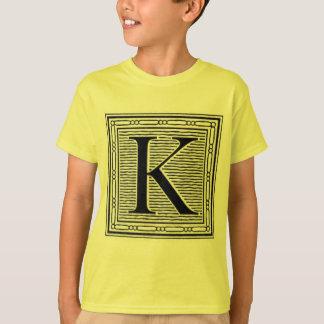 """Block Letter """"K"""" Woodcut Woodblock Inital T-Shirt"""