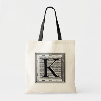 """Block Letter """"K"""" Woodcut Woodblock Inital Tote Bag"""