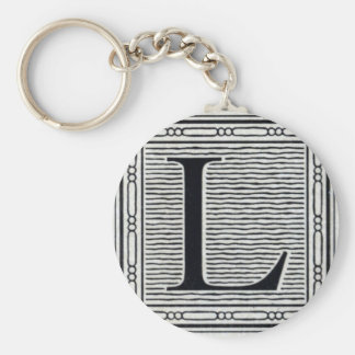 "Block Letter ""L"" Woodcut Woodblock Inital Basic Round Button Keychain"