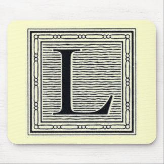 """Block Letter """"L"""" Woodcut Woodblock Inital Mouse Pad"""