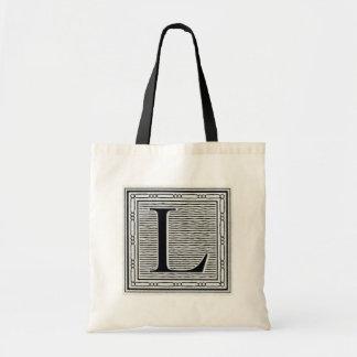 "Block Letter ""L"" Woodcut Woodblock Inital Tote Bag"