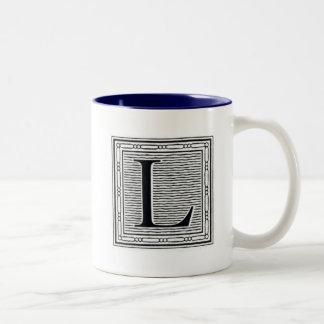 "Block Letter ""L"" Woodcut Woodblock Inital Two-Tone Coffee Mug"