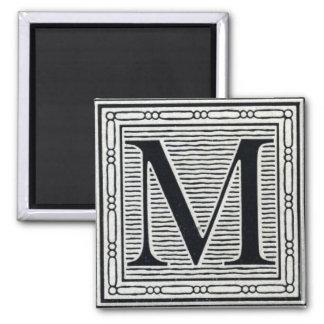 "Block Letter ""M"" Woodcut Woodblock Inital 2 Inch Square Magnet"