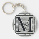 "Block Letter ""M"" Woodcut Woodblock Inital Basic Round Button Keychain"