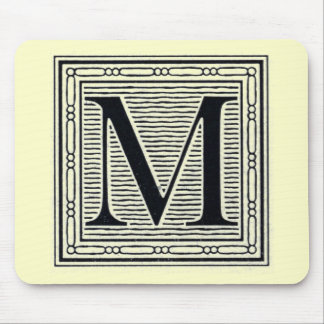"""Block Letter """"M"""" Woodcut Woodblock Inital Mouse Pad"""