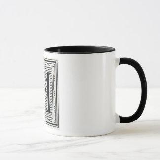 """Block Letter """"M"""" Woodcut Woodblock Inital Mug"""