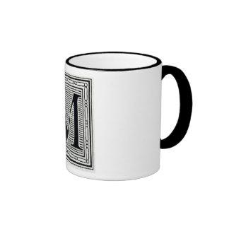 Block Letter M Woodcut Woodblock Inital Mugs