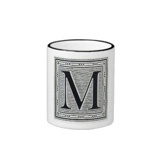 """Block Letter """"M"""" Woodcut Woodblock Inital Mugs"""