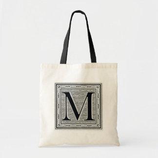 """Block Letter """"M"""" Woodcut Woodblock Inital Tote Bag"""
