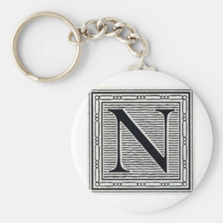 "Block Letter ""N"" Woodcut Woodblock Inital Basic Round Button Keychain"