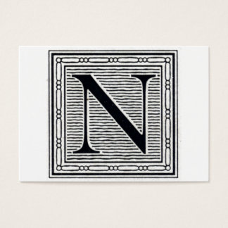 "Block Letter ""N"" Woodcut Woodblock Inital Business Card"