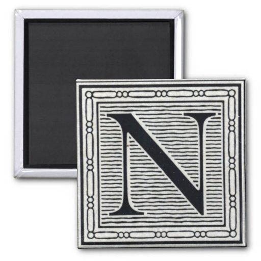 """Block Letter """"N"""" Woodcut Woodblock Inital Fridge Magnet"""