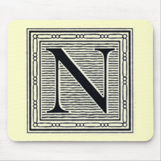 """Block Letter """"N"""" Woodcut Woodblock Inital Mouse Pad"""