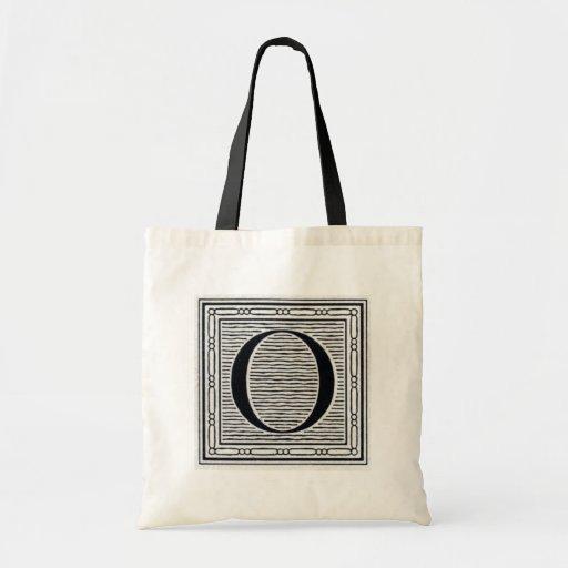 """Block Letter """"O"""" Woodcut Woodblock Inital Canvas Bags"""