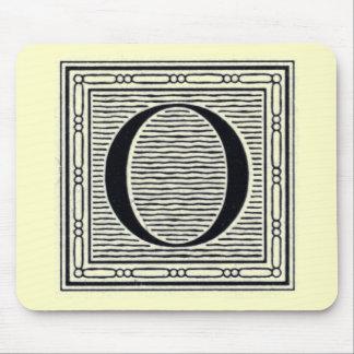 """Block Letter """"O"""" Woodcut Woodblock Inital Mouse Pad"""
