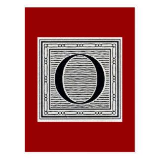 """Block Letter """"O"""" Woodcut Woodblock Inital Postcard"""