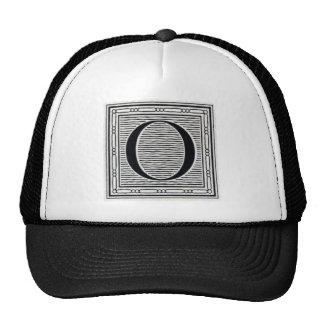 """Block Letter """"O"""" Woodcut Woodblock Inital Trucker Hat"""
