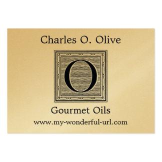 "Block Letter ""O"" Woodcut Woodblock Initial Business Card"