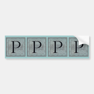 "Block Letter ""P"" Woodcut Woodblock Inital Bumper Sticker"