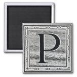 """Block Letter """"P"""" Woodcut Woodblock Inital Fridge Magnets"""