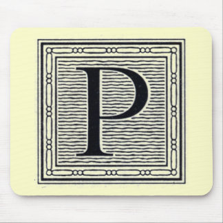 """Block Letter """"P"""" Woodcut Woodblock Inital Mouse Pad"""
