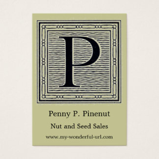 "Block Letter ""P"" Woodcut Woodblock Initial Business Card"