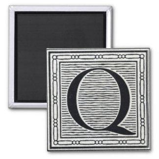 "Block Letter ""Q"" Woodcut Woodblock Inital 2 Inch Square Magnet"