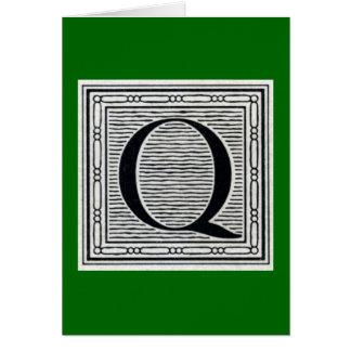 """Block Letter """"Q"""" Woodcut Woodblock Inital Card"""