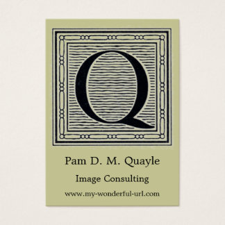 "Block Letter ""Q"" Woodcut Woodblock Initial Business Card"