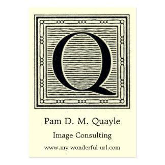 "Block Letter ""Q"" Woodcut Woodblock Initial Business Card Templates"