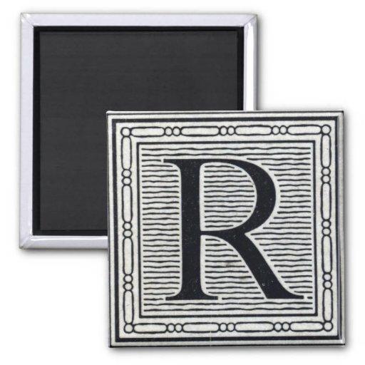 "Block Letter ""R"" Woodcut Woodblock Inital 2 Inch Square Magnet"