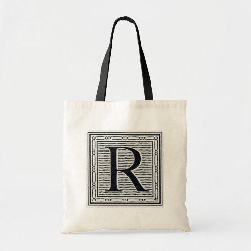 """Block Letter """"R"""" Woodcut Woodblock Inital Bag"""
