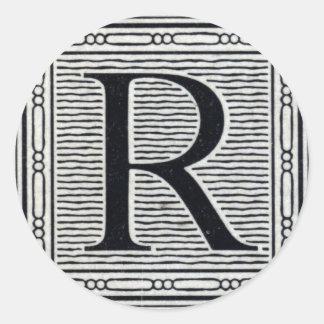 "Block Letter ""R"" Woodcut Woodblock Inital Classic Round Sticker"