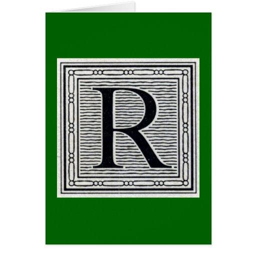 """Block Letter """"R"""" Woodcut Woodblock Inital Greeting Card"""