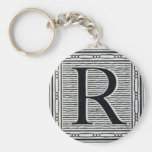 "Block Letter ""R"" Woodcut Woodblock Inital Basic Round Button Keychain"