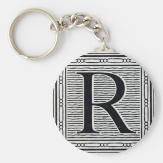 """Block Letter """"R"""" Woodcut Woodblock Inital Basic Round Button Keychain"""