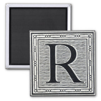 "Block Letter ""R"" Woodcut Woodblock Inital Magnet"